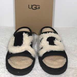 08f87d0e165 UGG Slide Sandals Black Natural Suede 1019730 NWT
